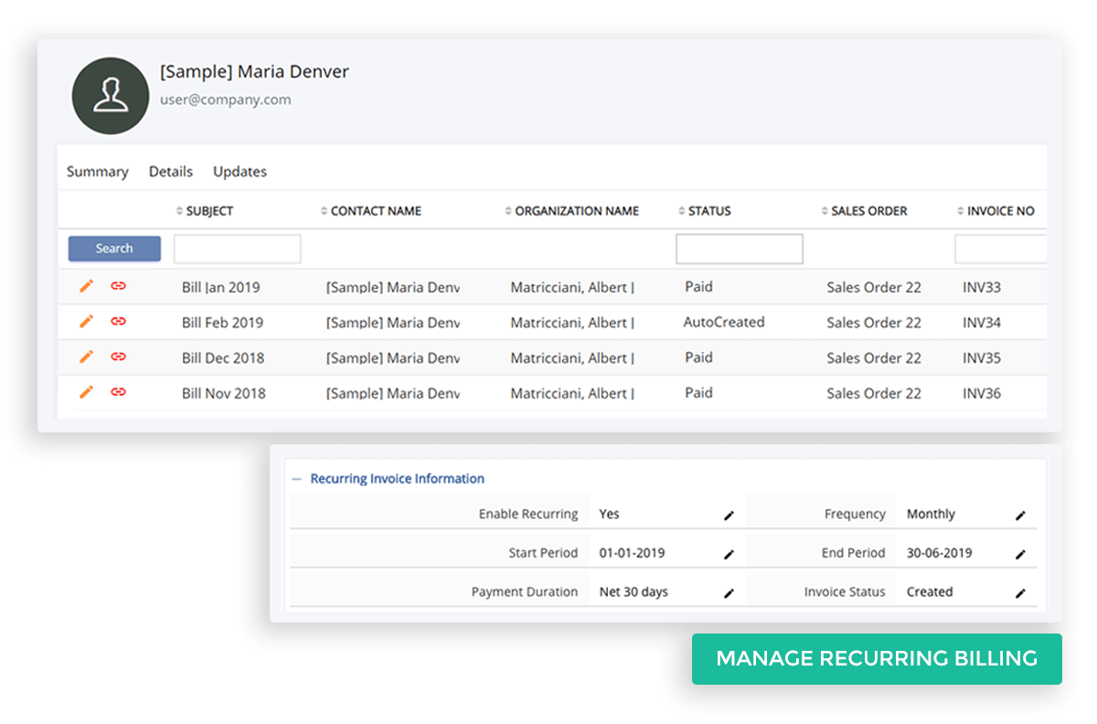 Manage Recurring Billing for Subscription